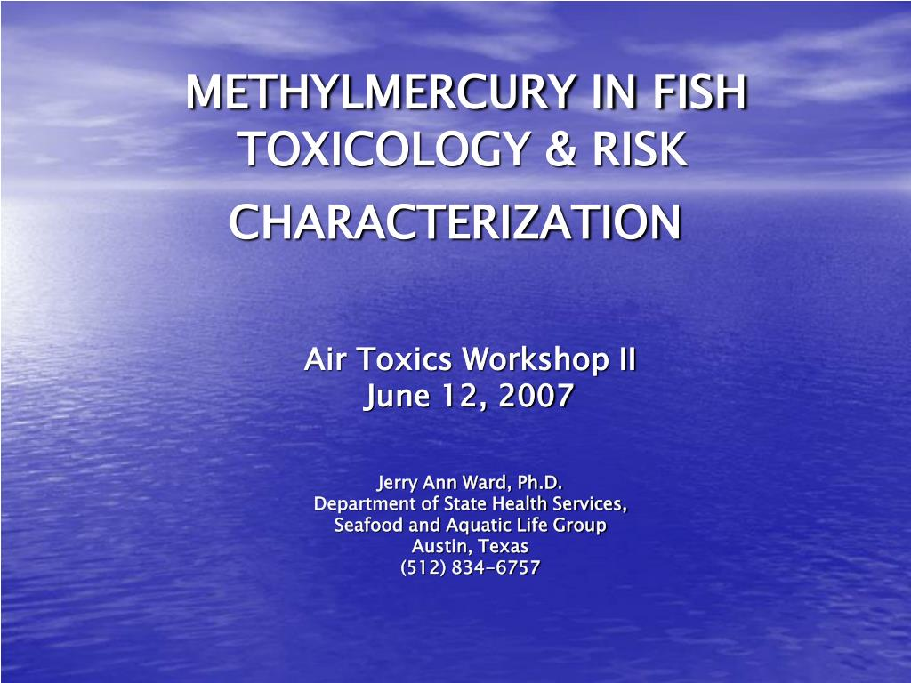 methylmercury in fish toxicology risk characterization l.
