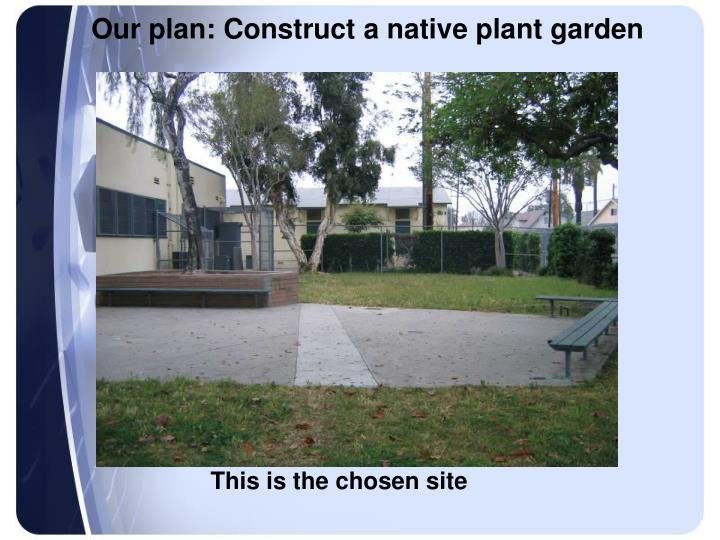 Our plan: Construct a native plant garden