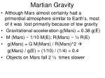 martian gravity