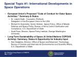 special topic 1 international developments in space operations