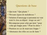 questions de base