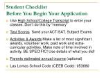 student checklist before you begin your application