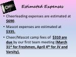 estimated expenses