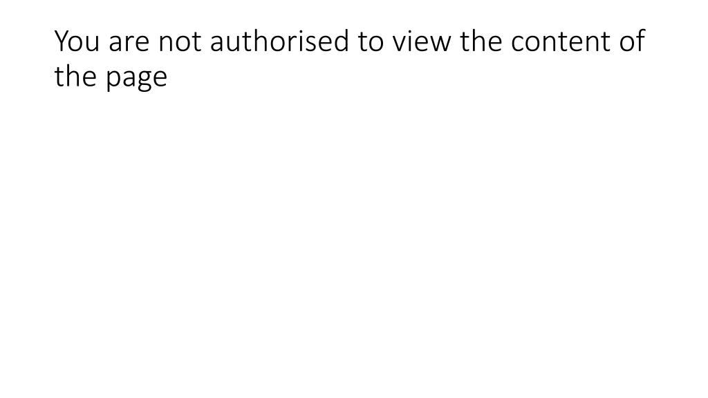 you are not authorised to view the content of the page l.