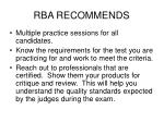 rba recommends