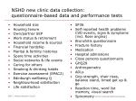 nshd new clinic data collection questionnaire based data and performance tests
