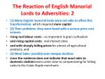 the reaction of english manorial lords to adversities 2