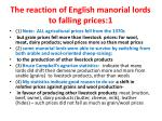 the reaction of english manorial lords to falling prices 1