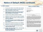 notice of default nod continued