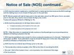 notice of sale nos continued
