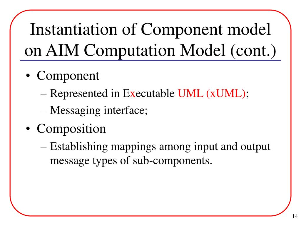 Instantiation of Component model on AIM Computation Model (cont.)