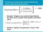 formule pour pr parer des solutions lib rant du chlore partir de poudres s ches