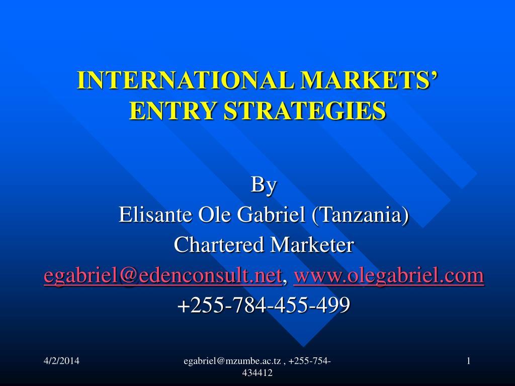 international markets entry strategies l.