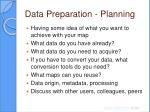 data preparation planning
