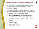 additional information about admin costs