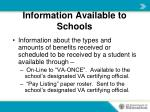 information available to schools