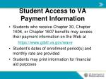 student access to va payment information