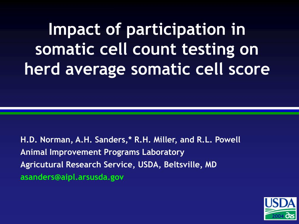 impact of participation in somatic cell count testing on herd average somatic cell score l.