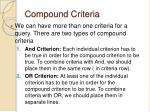 compound criteria
