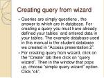 creating query from wizard