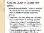 creating query in design view cont