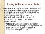 using wildcards for criteria