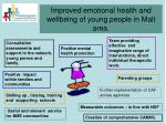 improved emotional health and wellbeing of young people in malt area