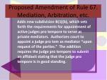 proposed amendment of rule 67 mediation arbitration etc16