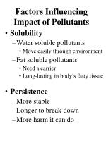 factors influencing impact of pollutants
