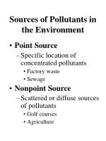 sources of pollutants in the environment