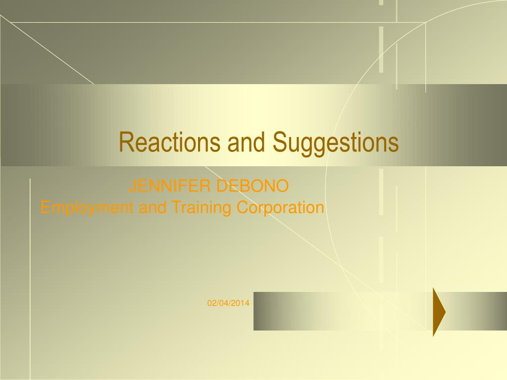 reactions and suggestions l.