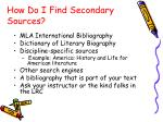 how do i find secondary sources