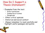 how do i support a thesis statement