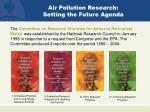 air pollution research setting the future agenda