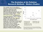 the evolution of air pollution research methods modern studies