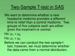 two sample t test in sas