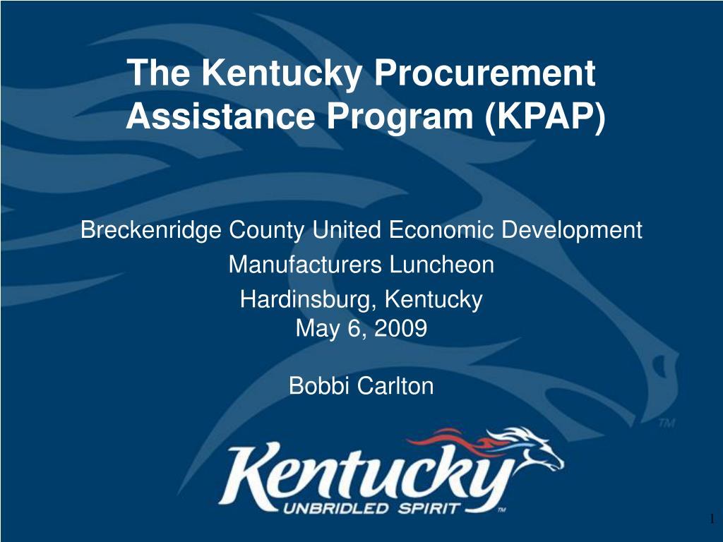 the kentucky procurement assistance program kpap l.