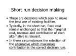 short run decision making