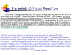 fermilab official reaction
