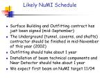 likely numi schedule