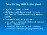 establishing mmr in maryland