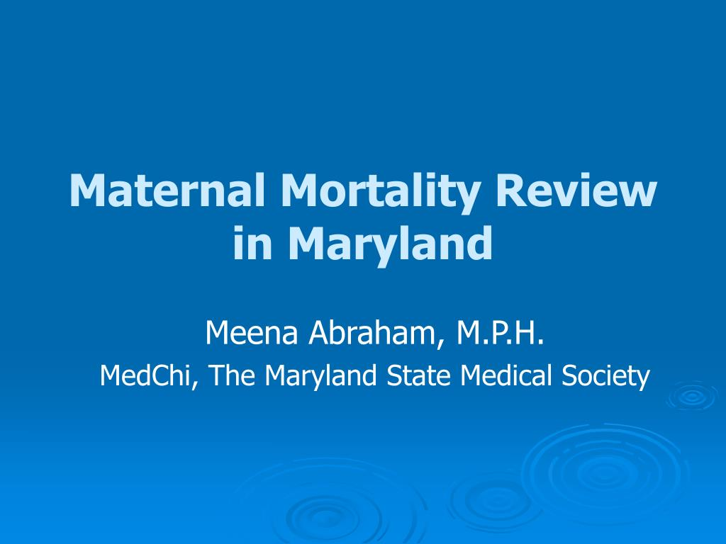 maternal mortality review in maryland l.