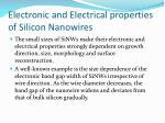electronic and electrical properties of silicon nanowires