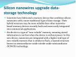 silicon nanowires upgrade data storage technology