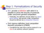 step 1 formalizations of security