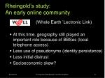 rheingold s study an early online community