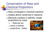 conservation of mass and chemical proportions
