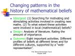 changing patterns in the history of mathematical beliefs