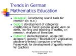 trends in german mathematics education