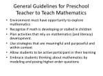 general guidelines for preschool teacher to teach mathematics